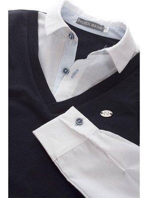 В школу Рубашка обманка с жилетом, длинный рукав