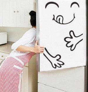 Смешная наклейка на холодильник.