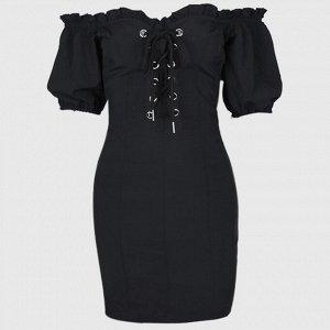 Платье ВЛД 7 Стильное короткое облегающее платье с открытыми плечами. Рукава короткие, грудь декорирована шнуровкой. Хлопок