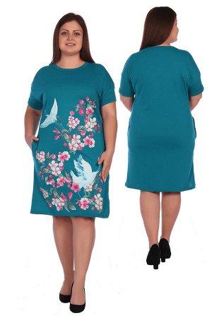 Яркое платье-туника с цветочным принтом Т813А