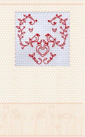Набор-открытка для вышивания крестом АБРИС АРТ арт. AOH-009 Влюбленные птички 8х8см