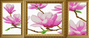 Рисунок на ткани (Бисер) КОНЁК арт. 9624 Магнолия (триптих) 46х86 см