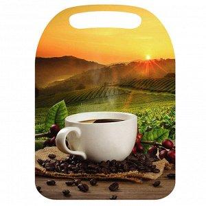 """Доска разделочная К-157 """"Утренний кофе"""" 21х29см деревянная с рисунком"""