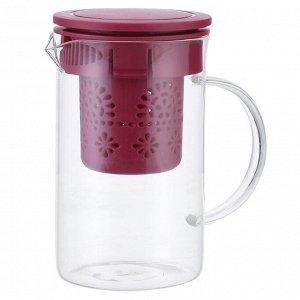 Чайник заварочный 800 мл с фильтром AK-5521/7 бордовый