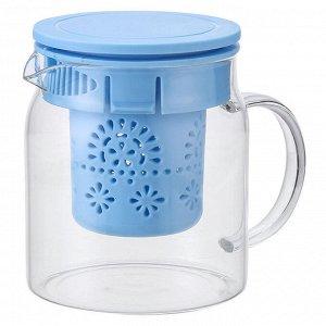 Чайник заварочный 800 мл с фильтром AK-5522/4 голубой