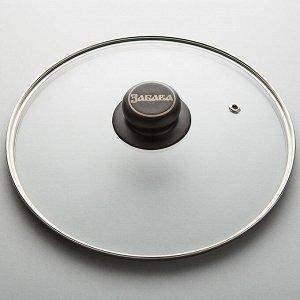 Крышка 24 см стеклянная с металлическим ободком низкая ЗАБАВА РК-03/24