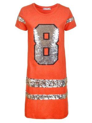 Платье для девочки декорировано двусторонними пайетками  Цвет:коралловый
