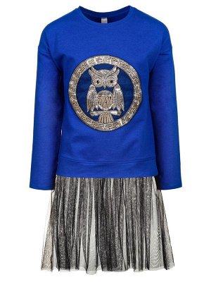 Платье с аппликацией, юбка из сетки