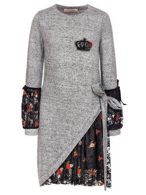 Платье с ворсом для девочки. Отделка-гипюр.