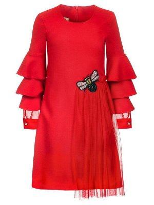 Платье с аппликацией,декорировано сеткой