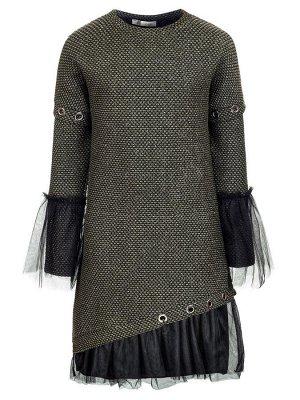 Платье с люрексом.Отделка-сетка.