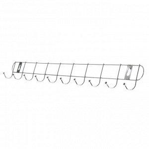 Вешалка настенная на 10 крючков Доляна «Лето», 55?3,5?5 см, цвет серебро