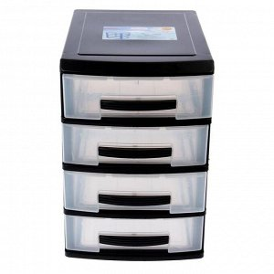 Мини-комод 4-х секционный Росспласт, цвет чёрный/прозрачный