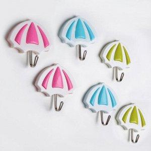 Набор крючков на липучке «Зонтик», 2 шт, цвет МИКС
