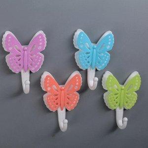 Набор крючков на липучке «Бабочки ажурные», 4 шт, цвет МИКС