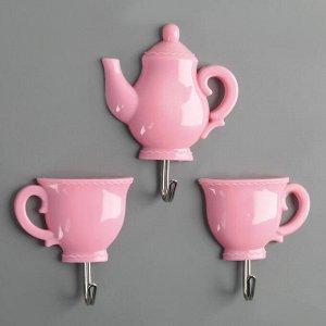 Набор крючков на липучке «Чаепитие», 3 шт, цвет МИКС