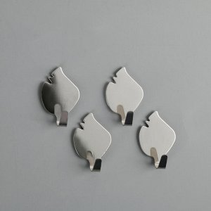 Набор крючков на липучке «Листики», 4 шт, металл