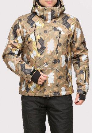 Мужская зимняя горнолыжная куртка коричневого цвета