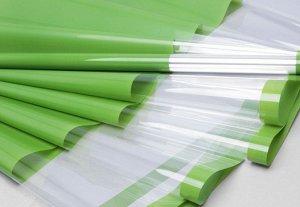 Пленка цветная 60см, прозрачное окно/зеленая, 200г, 35мкр (6,5м)