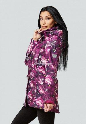Женская осенняя весенняя парка softshell фиолетового цвета