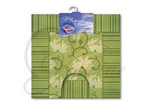 Набор ковриков, 2шт, для ванной и туалета из вспен-го ПВХ, 50х52см, 50х85см зеленый 1/20