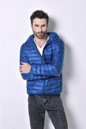 ультралегкая мужская куртка с капюшоном, цвет темно-голубой