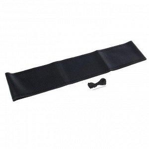 Сшивной чехол на руль 38 см, перфорированная искусственная кожа, черный