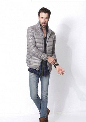 Ультралегкая мужская куртка, цвет светло-серый