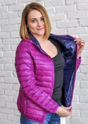 Ультралегкая женская ДВУХСТОРОННЯЯ куртка с капюшоном, цвет фиолетовый/синий