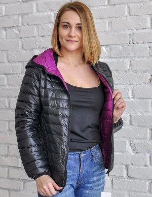 Ультралегкая женская ДВУХСТОРОННЯЯ куртка с капюшоном, цвет черный/фиолетовый