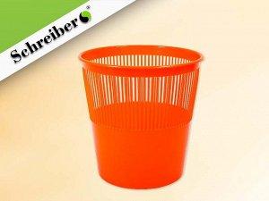 Корзина для бумаг пластиковая, цвет ОРАНЖЕВЫЙ флуоресцентный. объем 12 литров. Производство Россия