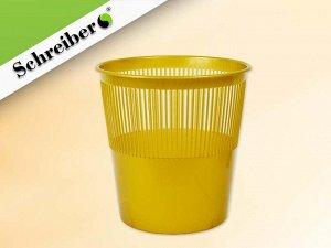 Корзина для бумаг пластиковая, цвет ЗОЛОТОЙ. объем 12 литров. Производство Россия