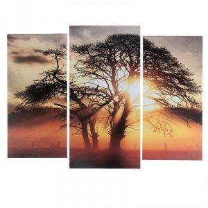 """Модульная картина """"На закате"""" (2-25х52; 1-30х60) 60х80 см"""