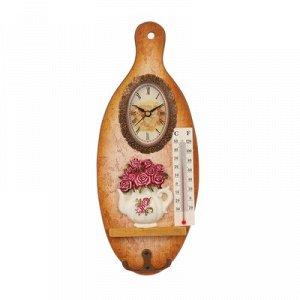 "Крючки декоративные дерево с часами ""Чайничек с розами"" доска 29,3x12x2,9 см"