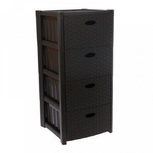 Комод 4-x секционный IDEA «Стиль ротанг», цвет коричневый