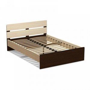 Кровать 140 (с орт.основанием) Эксон 1456х842х2048, дуб млечный/венге