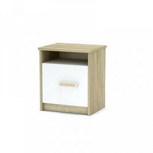Тумба прикроватная Эксон с дверью (420х350х477) дуб сонома/белый