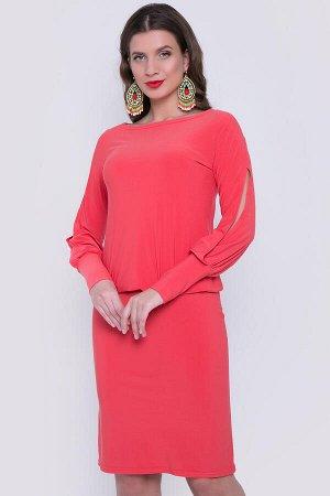 Платье Кораллового цвета с красивыми разрезами на руковах