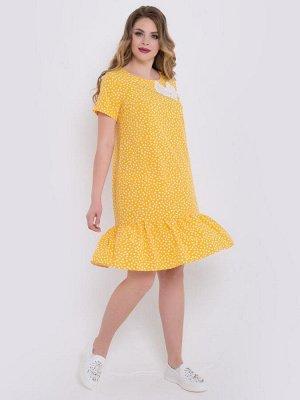 """Платья Летнее платье А-образного силуэта, выполнено из крепа с принтом """"горох"""" желтого цвета. - по переду вырез горловины круглый на внутренней обтачке - V-образный вырез на спинке дополнен завязками"""