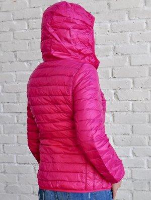 Ультралегкая женская ДВУХСТОРОННЯЯ куртка с капюшоном, цвет розовый/бежевый
