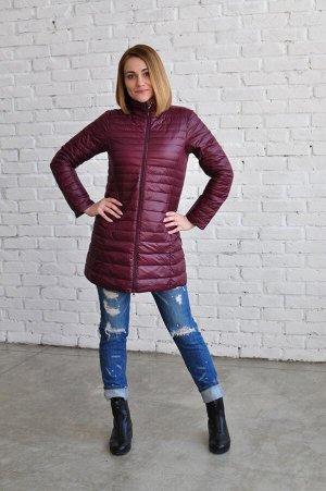 Женская удлиненная ультралегкая куртка, цвет бургундия