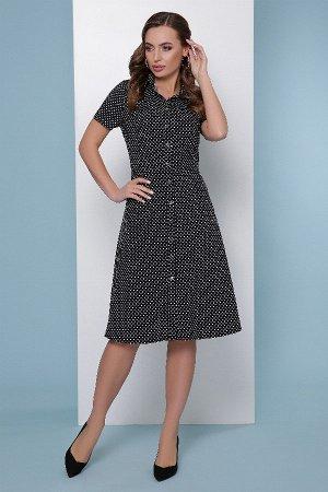 Платье-рубашка 1813 черный горох