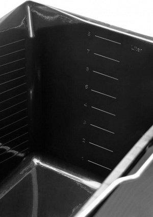 Ведро Ведро малярное пластмассовое, 8 л, STAYER  ХАРАКТЕРИСТИКИ STAYER 06092-08: Размер, см: 19x22.5x28 Тип: малярное Объем, л: 8 Материал: пластик, сталь Цвет: черный Форма: прямоугольная