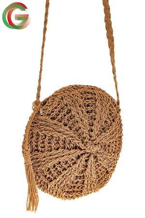 Круглая сумка на молнии, материал джут, цвет крафт