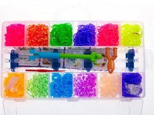 Набор цветных резиночек, 1600 шт, пластиковый секционный контейнер