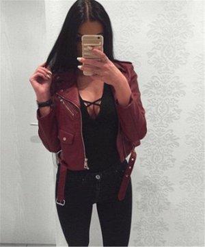 Короткая куртка-косуха с поясом Цвет: БОРДО