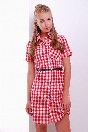 Платье-рубашка 1786 красно-белый