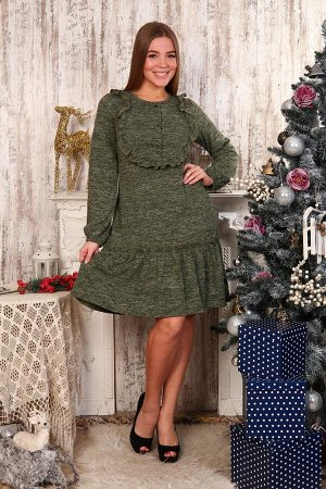 Д480 Платье Аманда пуговицы (зелёное)