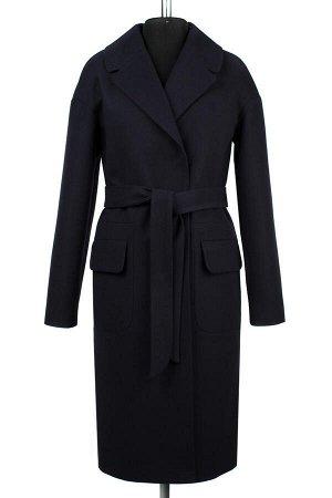 01-08462 Пальто женское демисезонное (пояс) Пальтовая ткань navy
