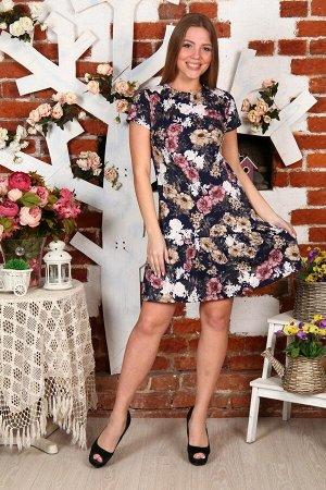 Д488 Платье вискоза (розовые цветы)